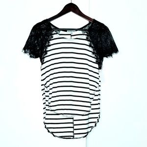 Charlotte Russe Black & White Striped T Shirt